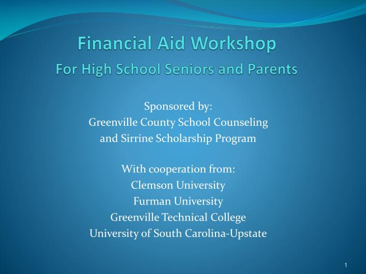 financial aid workshop for high school seniors and parents n.