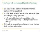 the cost of incurring debt for college