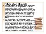 fabrication of merits