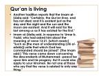 qur an is living