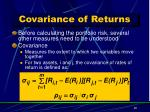 covariance of returns