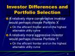 investor differences and portfolio selection