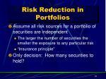 risk reduction in portfolios