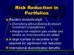 risk reduction in portfolios1