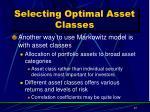 selecting optimal asset classes