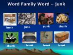 word family word junk