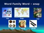 word family word snap