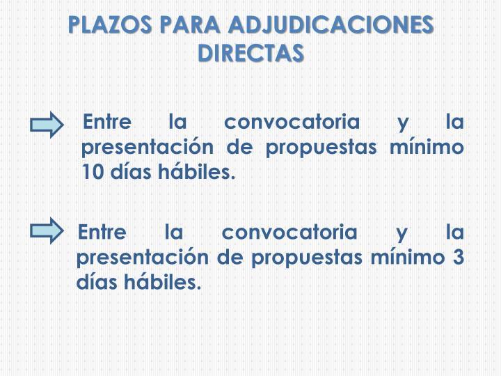 PLAZOS PARA ADJUDICACIONES DIRECTAS
