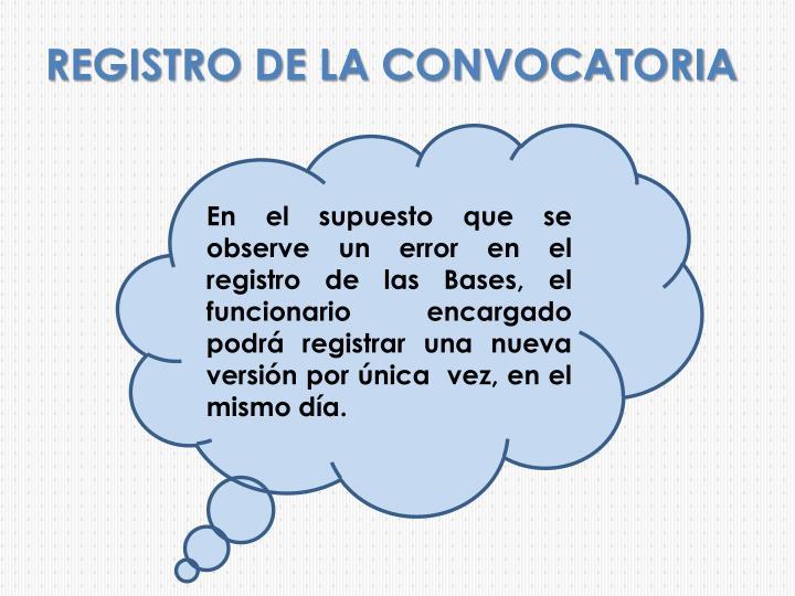 REGISTRO DE LA CONVOCATORIA