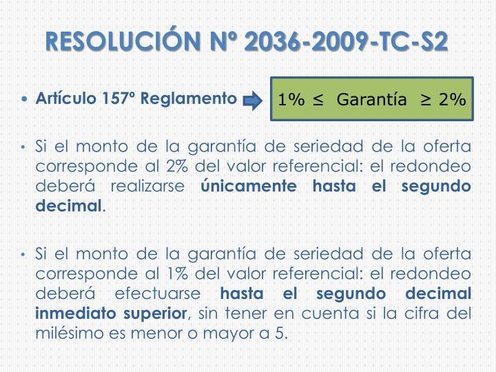 RESOLUCIÓN Nº 2036-2009-TC-S2