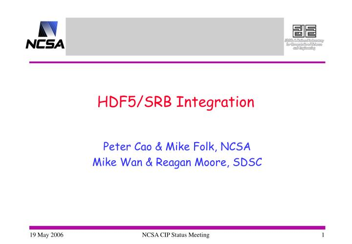 hdf5 srb integration n.