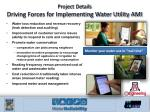 project details driving forces for implementing water utility ami