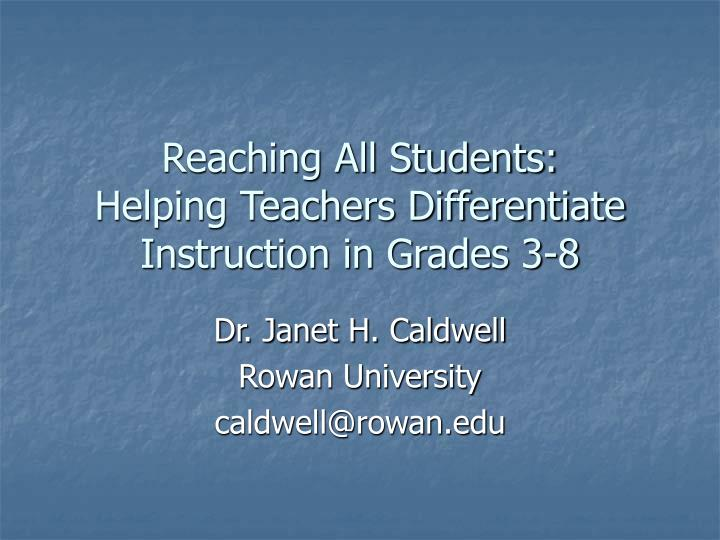 reaching all students helping teachers differentiate instruction in grades 3 8 n.