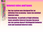 interest rates and taxes