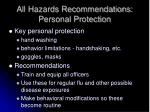 all hazards recommendations personal protection