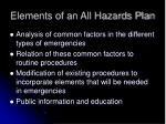 elements of an all hazards plan