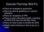 episode planning bird flu