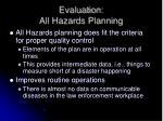 evaluation all hazards planning