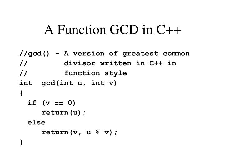 A Function GCD in C++