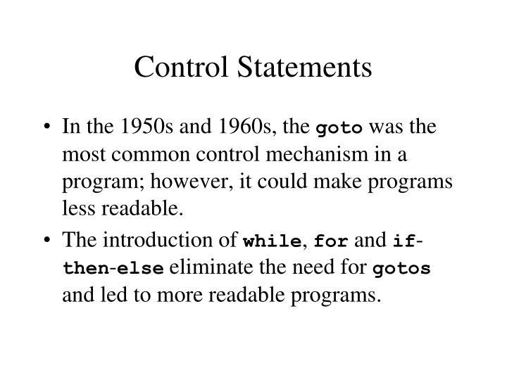 Control Statements