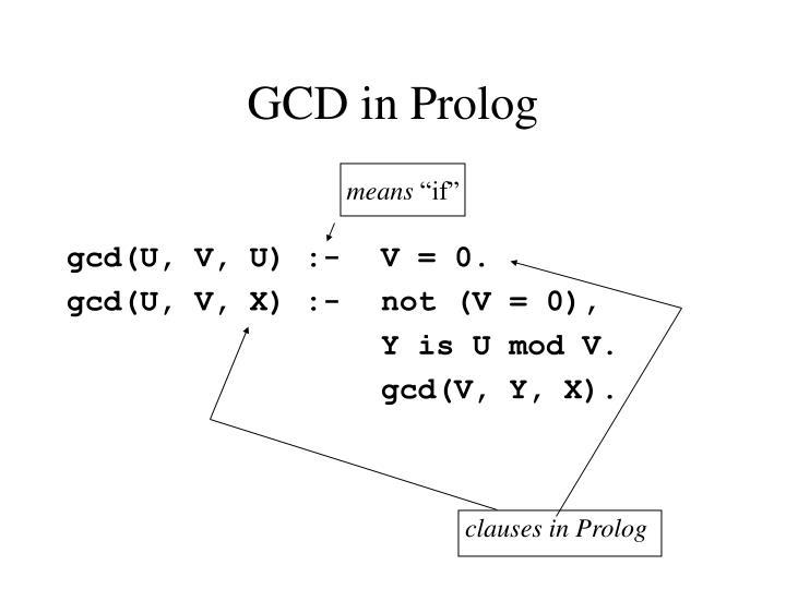 GCD in Prolog