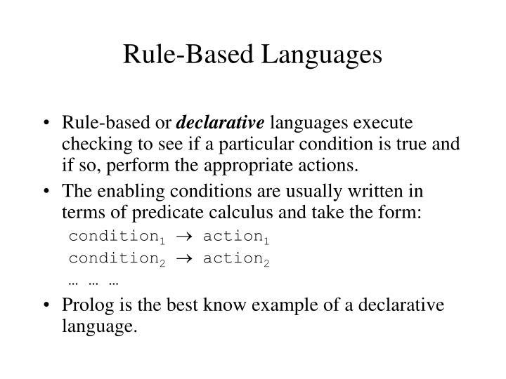 Rule-Based Languages