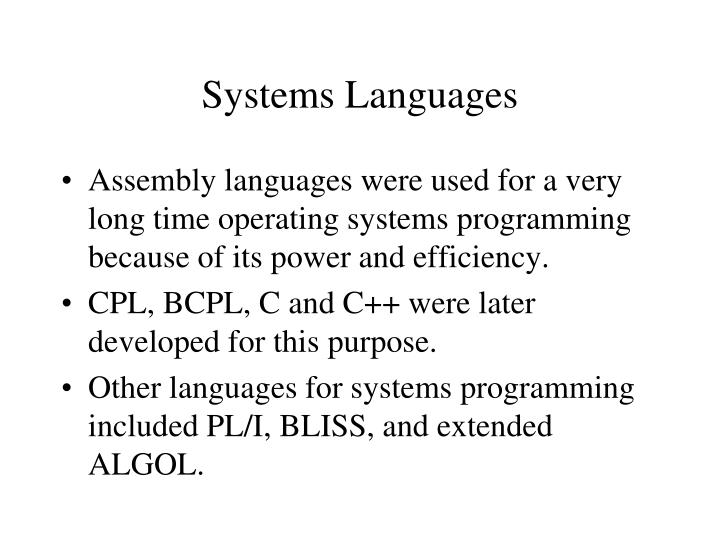 Systems Languages