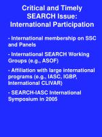 critical and timely search issue international participation