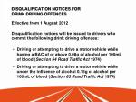 disqualification notices for drink driving offences