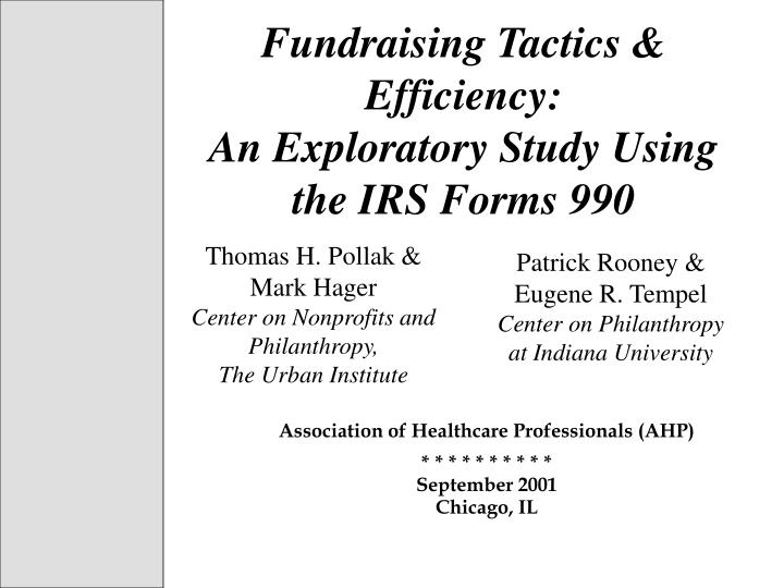 fundraising tactics efficiency an exploratory study using the irs forms 990 n.