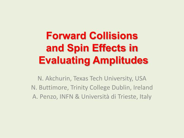 forward collisions and spin effects in evaluating amplitudes n.