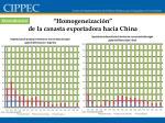 homogeneizaci n de la canasta exportadora hacia china