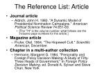 the reference list article