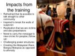 impacts from the training