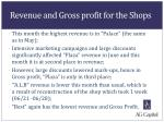 revenue and gross profit for the shops