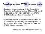 develop a clear stem careers path