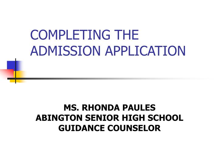 completing the admission application n.