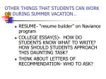 other things that students can work on during summer vacation