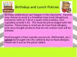 birthdays and lunch policies