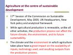 agriculture at the centre of sustainable development