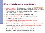 effect of global warming on agriculture