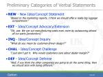 preliminary categories of verbal statements