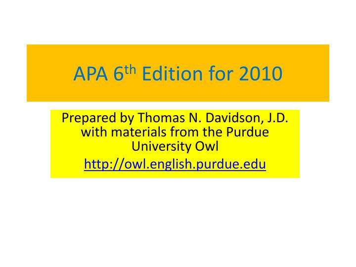 apa 6 th edition for 2010 n.