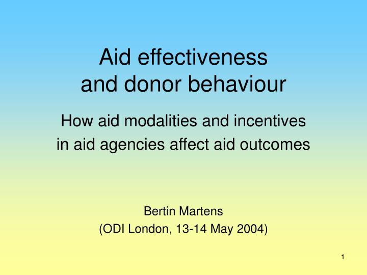 aid effectiveness and donor behaviour n.
