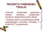 projekto parengimo tikslai
