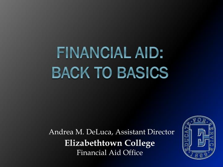 financial aid back to basics n.