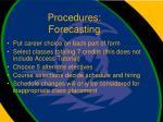 procedures forecasting