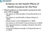 evidence on the health effects of health insurance for the poor