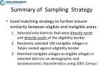 summary of sampling strategy