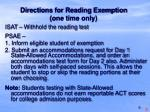 directions for reading exemption one time only